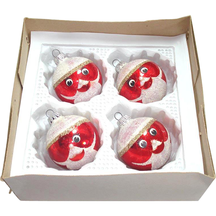 Box Funny Face Santa West German Glass Christmas Ornaments