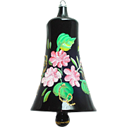 Fancy Italy Pink Roses on Black Glass Bell Christmas Ornament
