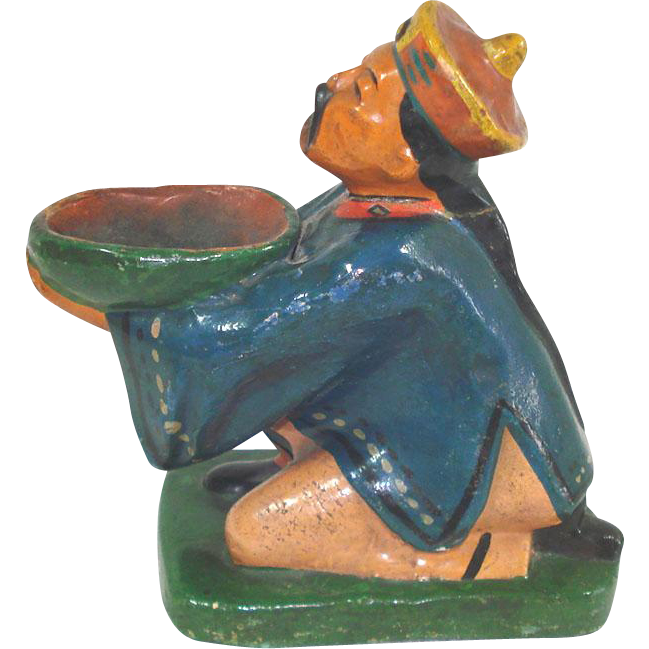 Antique China Man Figural Incense Burner Figurine