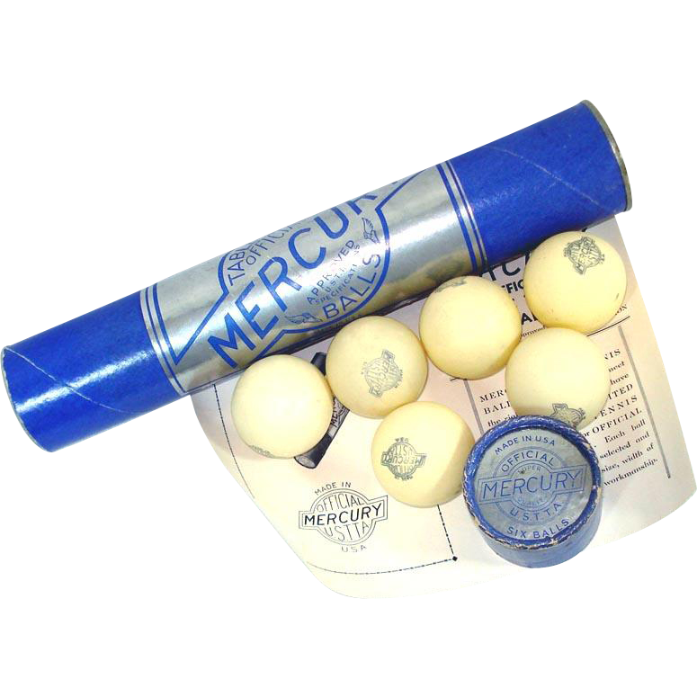 1930s Tube Mercury Table Tennis Balls
