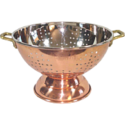 Footed Copper Kitchen Colander Strainer