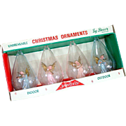 Box Jewel Brite Plastic Angel in Clouds Christmas Ornaments
