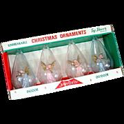 Box Jewel Brite Plastic Angel in Clouds Christmas Ornaments