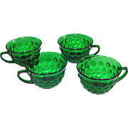 4 Anchor Hocking Forest Green Bubble Coffee Cups