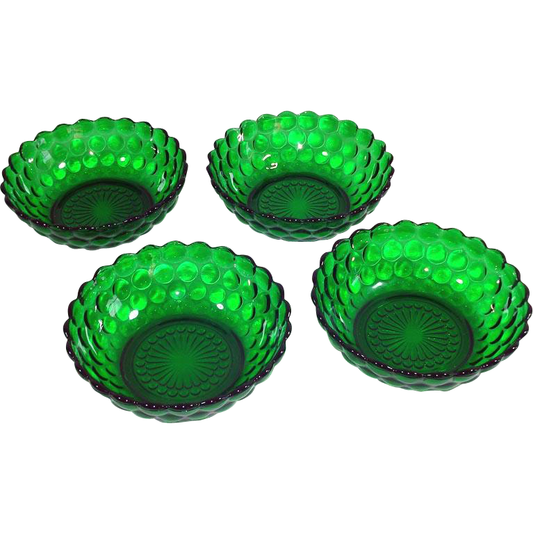 4 Anchor Hocking Forest Green Bubble Cereal Bowls