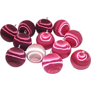 Pink Satin Sheen Christmas Ornaments For Pin Beading Crafts