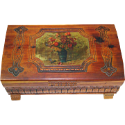 Carved Cedar Jewelry Chest Keepsake Box Decoupage Top