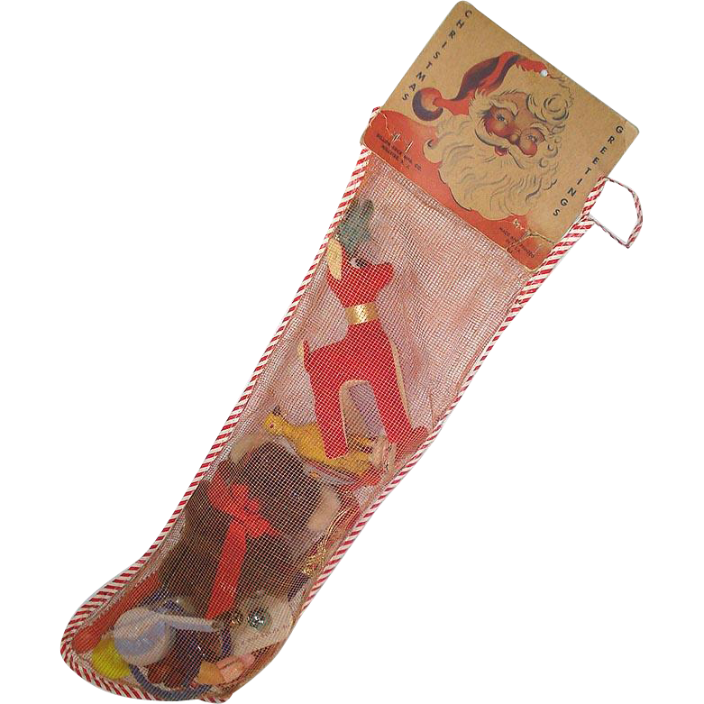 1950s Mesh Christmas Stocking Filled With Toys