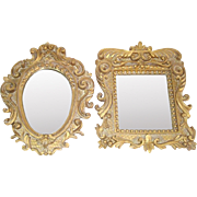 Pair 9 Inch Gold Plaster Ornate Wall Mirrors