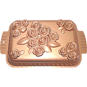 Copper Finish Raised Roses Rectangular Cake Pan