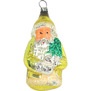 West Germany Santa in Yellow Coat Glass Christmas Ornament