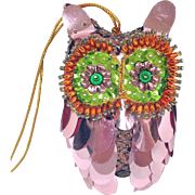 Pin Beaded Sequined Pink Owl Christmas Ornament