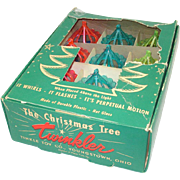 Box 12 Twinkler Plastic Birdcage Spinner 1950s Christmas Ornaments