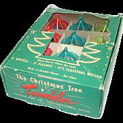 Box 12 Twinkler Plastic Birdcage Spinner 1950s Christmas Ornaments