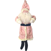 Composition Face Christmas Putz Santa Figure in Pink Coat