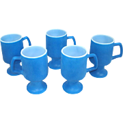 Fired On Blue Milk Glass Pedestal Mugs Set of 5