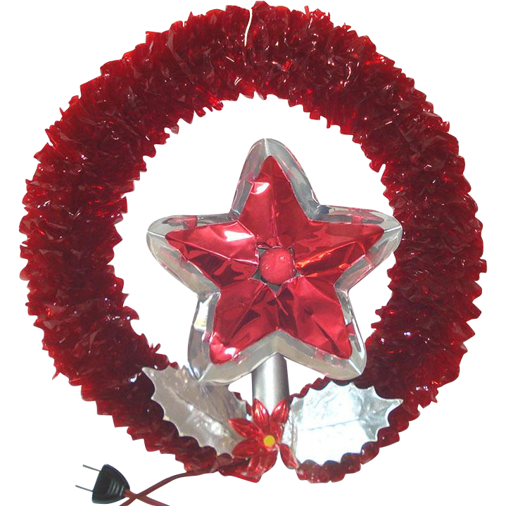 Royal 1950s Red Cellophane Lighted Christmas Candle Wreath in Box