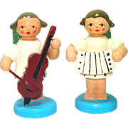 German Erzgebirge Musical Angel Carved Wood Christmas Ornaments