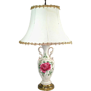 Ceramic Table Lamp With Pink Rose Circa 1950