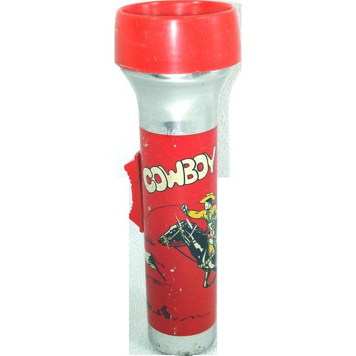 Child's Cowboy Theme Metal Toy Flashlight