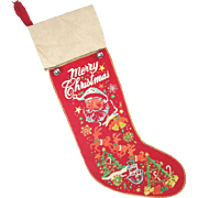 1950s Printed Flannel Christmas Stocking