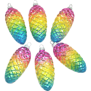 6 West Germany Pinecone Glass Christmas Ornaments Rainbow Colors