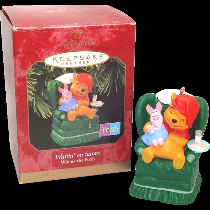 Hallmark 1997 Winnie Pooh Waitin' On Santa Christmas Ornament