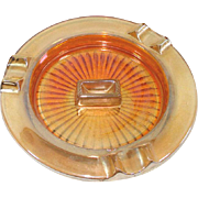 Marigold Iridescent Glass Match Holder Ashtray