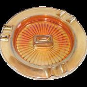 Marigold Iridescent Glass Match Holder Ashtray