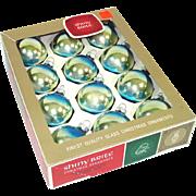 Box Shiny Brite Rainbow Shaded Blue Green Christmas Ornaments