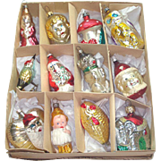 Box 12 Figural Glass Christmas Ornaments With Rare Gretel