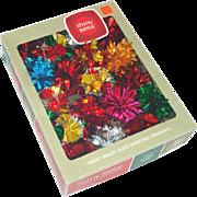 Box 18 Foil Starburst Pompom 1960s Christmas Ornaments