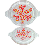 2 Pyrex Friendship Glass Replacement Lids for Cinderella Casseroles