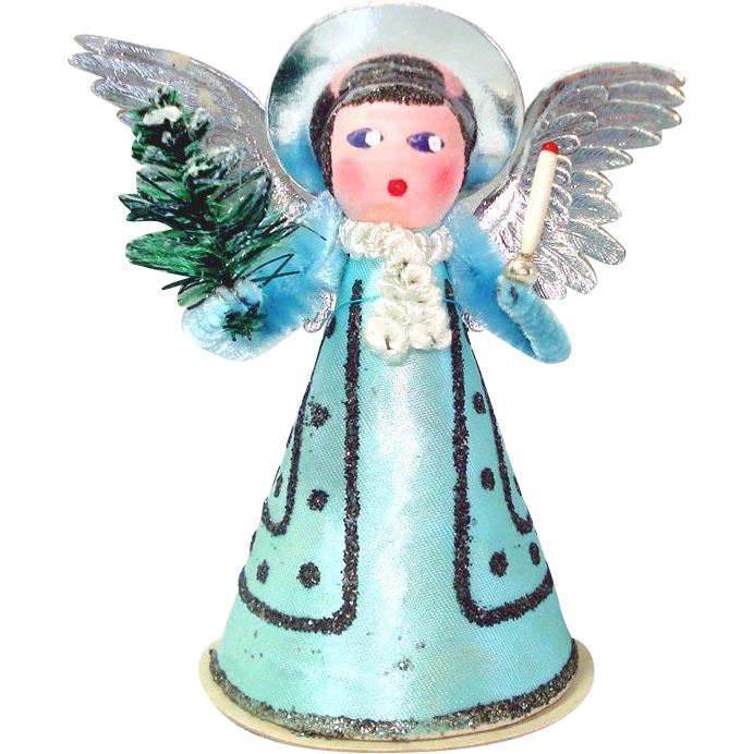 Composition West Germany Christmas Angel With Tree, Candle