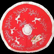 Red Felt 1960s Christmas Tree Skirt Reindeer, Sleigh