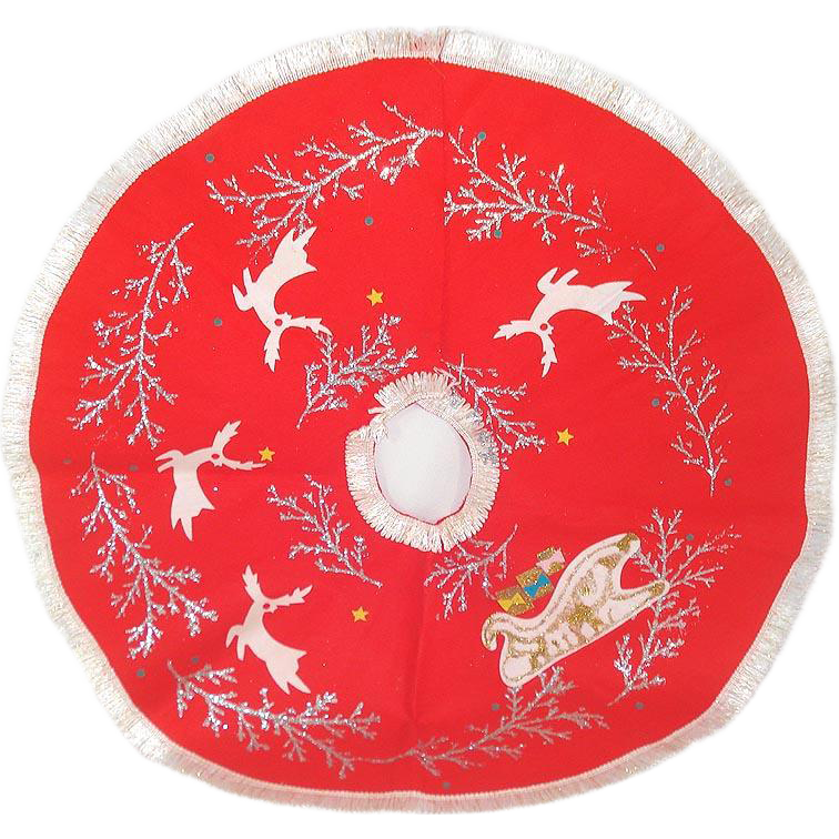 Red Felt 1960s Christmas Tree Skirt Reindeer, Sleigh