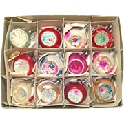 Box Poland Round Indent Blown Glass Christmas Ornaments