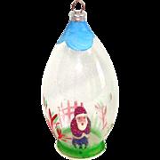 1950s Composition Santa Inside Glass Dome Christmas Ornament