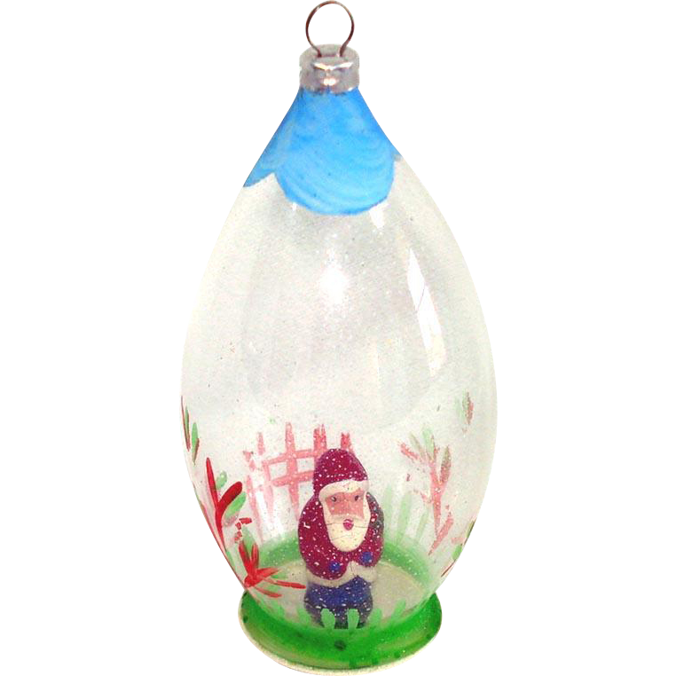 1950s Composition Santa Inside Glass Dome Christmas Ornament