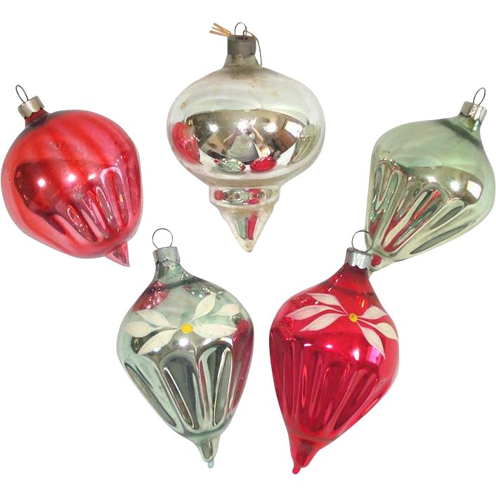 1930s American Made Blown Glass Shapes Christmas Ornaments