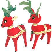 Pair Dakin Dream Pets Christmas Plush Reindeer Figures