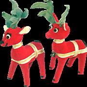 Pair Dakin Dream Pets Christmas Plush Reindeer Figures