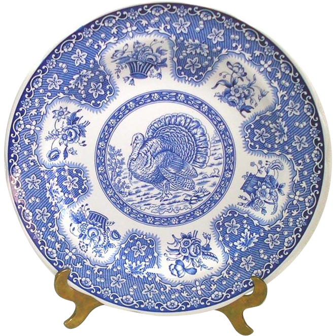 Spode Festival Blue Turkey Dinner Plate