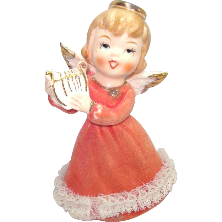 Japan Ceramic Angel With Lyre Figurine