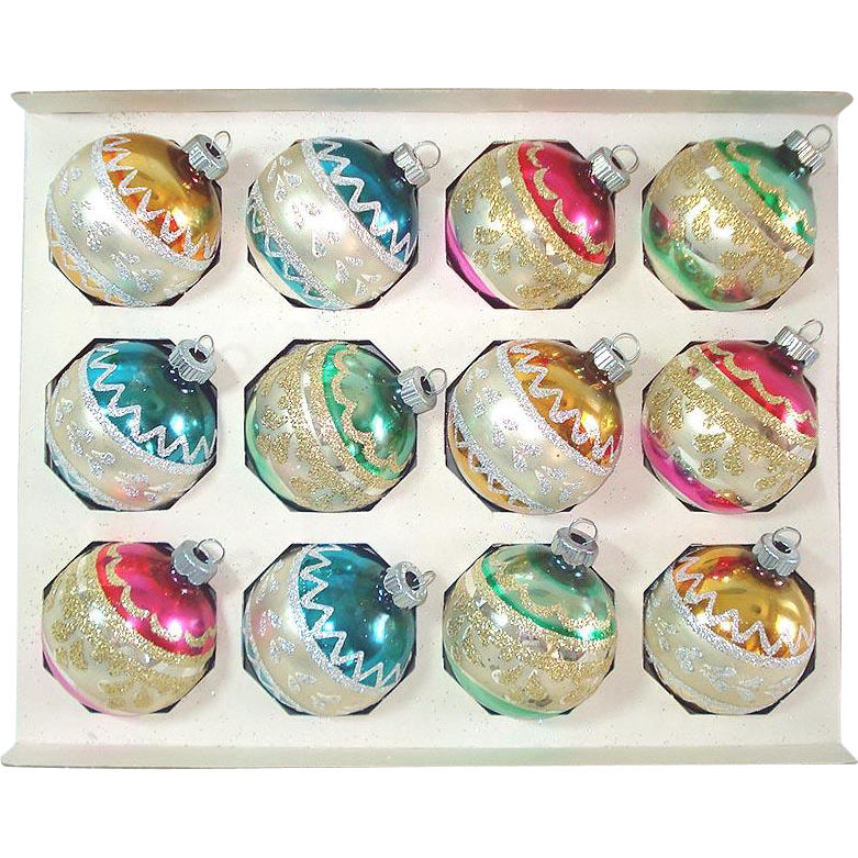 Box Shiny Brite Glitter Stripes Christmas Ornaments