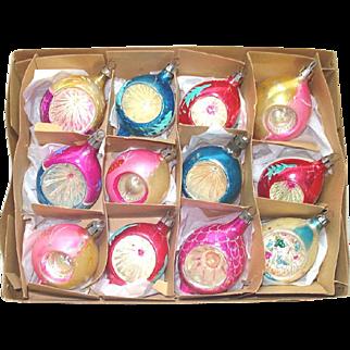 Box Fantasia Poland 1950s Teardrop Indent Glass Christmas Ornaments