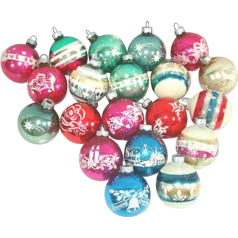 Lot 20 Small Stripes Stenciled Glass Christmas Ornaments