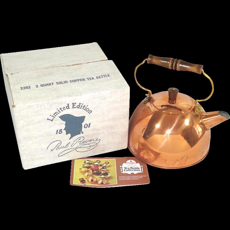 Revere Ware Solid Copper Tea Kettle in Original Box