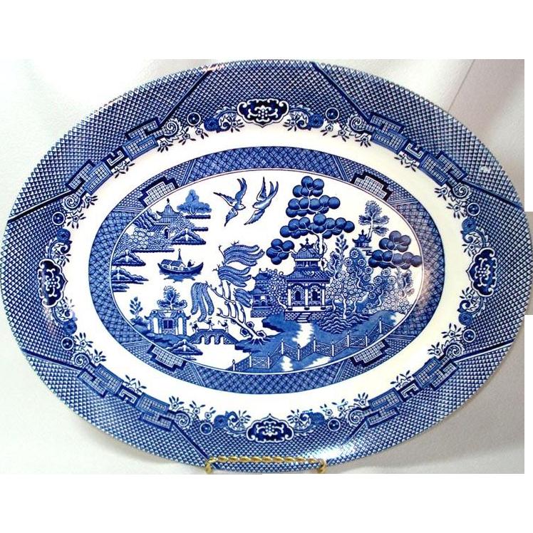 Blue Willow Churchill England Oval Serving Platter, Mint