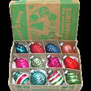 Box 1940s Shiny Brite Small Shapes Glass Christmas Ornaments